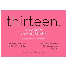 13th Party Invitations Thirteen Pink 13th Birthday Invitations 13th Birthday