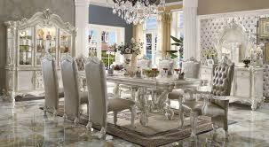 acme  piece versailles dining set in bone white finish • usa