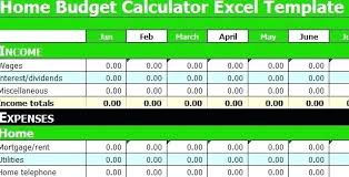 Monthly Budget Calculator Excel Template Home Spreadsheet