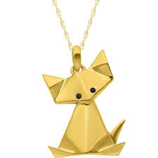 14k yellow gold plated sterling silver origami cat pendant with black diamond eyes