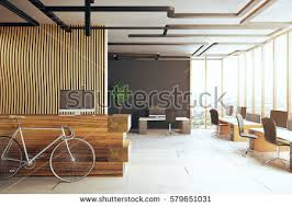 creative office desks. Creative Office Interior With Bicycle, Reception Desk, Several Desks Computer Monitors And Panoramic