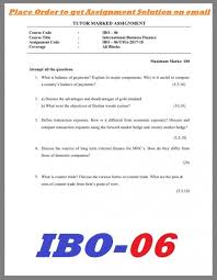 ibo international business finance ignou solved assignment ibo6 international business finance ignou solved assignment images