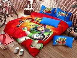 toy story bedding set red blue kids cartoon queen size doona cotton quilt duvet covers bedroom