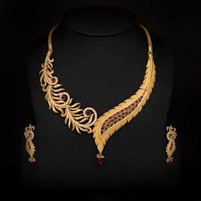 latest gold necklace with earrings