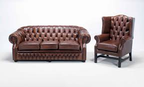 Leather Chairs Living Room Decor Wingback Leather Chair And Chesterfield Couch For Living