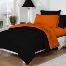 xlong twin sheet sets dorm bed bath black orange 10pc set for xl twin college beds