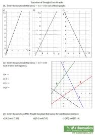 equation of straight line graphs worksheet