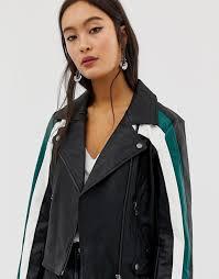 only colour block faux leather biker jacket biker jacket by only 11707776 only biker jackets black pretty lady