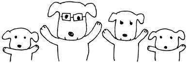 手書き家族で体操 かわいい白黒の犬イラスト無料82864 素材good
