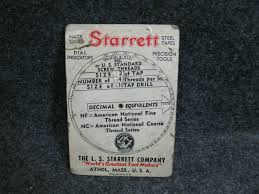 Nc Tap Chart 1943 L S Starrett Decimal Equivalent Screw Threads Tap