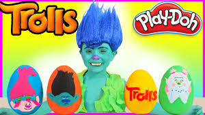 trolls branch play doh giant surprise eggs poppy branch kiss toys kids video makeup tutorial you