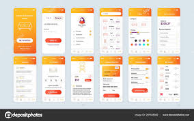Ux Flat Design Set Of Ui Ux Gui Screens Shopping App Flat Design Template
