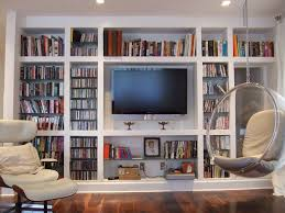 Living Room Bookshelf Decorating Fancy White Hardwood Built In Living Room Bookcases With Media