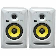speakers pair. krk - rokit rp5 g3 active studio monitor speakers (pair, white with yellow pair