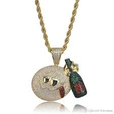 whole funny drunk emoji pendant copper zicron hip hop jewelry designer jewelry rope chain iced out chains mens necklace pendant necklaces uk long