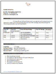 Resume Format For Freshers Mcom Over Cv And Resume Samples With Free
