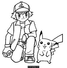 Small Picture Pokemon Ash Ketchum and Pikachu Anime Coloring Page Printable for