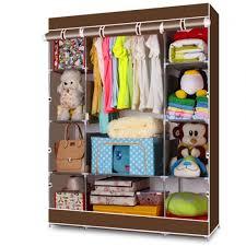 portable closet storage organizer wardrobe clothes rack with shelves coffee