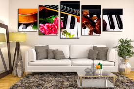Music Living Room 5 Piece Large Canvas Violin Photo Canvas Brown Artwork Piano