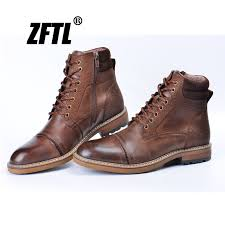 <b>ZFTL New Men</b> martins Boots Winter boots genuine leather ...