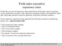 Free Work Experience Field Sales Executive Experience Letter