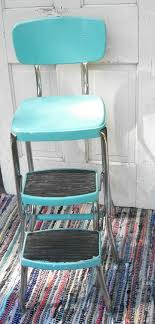 vintage turquoise and chrome cosco like chair with step stool mid century shabby chic cottage chic