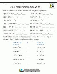 Matheets Free 6th Grade Exponents Exponent Notation Order Of ...