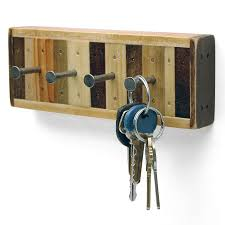 Cool Key Hooks With Dark Color Side Brown Color From Enthralling Wood  Material Plus Interesting Nail