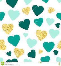 De Naadloze Patroonachtergrond Met Goud Schittert En Groene Harten