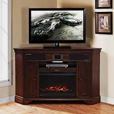 image of corner tv stand with fireplace