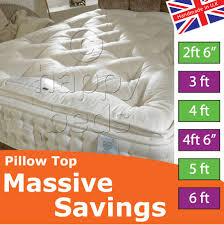 Organic Bedroom Furniture Happy Beds Organic 2000 Pillow Top Pocket Sprung Mattress Bedroom