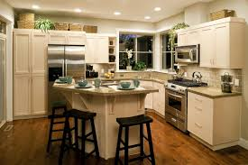 Old Fashioned Kitchen Black Stools And White Island Near Long Counter Completing Old