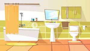cartoon bathroom sink and mirror. Contemporary And Modern Home Hotel Apartment Lavatory Restroom Illustration With Ceramic  Furniture Bathtub Faucet Toilet Sink Shower Mirror Closet To Cartoon Bathroom Sink And Mirror O