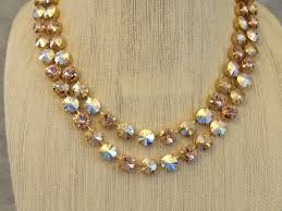 double strand blush swarovski crystal statement necklace images of