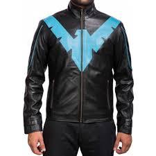 nightwing grayson men s black leather jacket