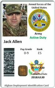 Armed Us Forces Card Identification