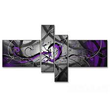 black grey purple abstract painting set of 4 panels with skeleton frame