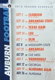 auburns 2016 football and clothing schedule