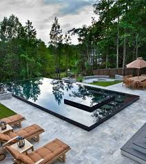 Pool Design Outstanding Modern Pool Design With Fences And Dining Table