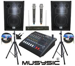 speakers with microphone. complete professional 2000 watts pa system 6 channel power mixer 12\ speakers with microphone k