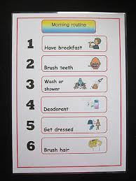 Morning Routine A4 Wall Chart Schedule Autism Visual