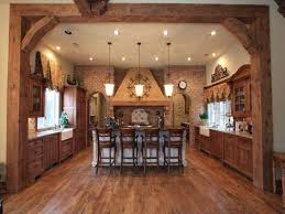 Rustic Kitchen Floors Rustic Kitchen Decor Ideas With Brown Floor And Chandeliers 914