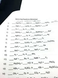 balancing chemical equations worksheets with answers practice problems worksheet class 10 ch