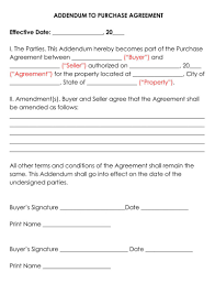 You'll need one of these contracts if you're selling. Addendum To Purchase Agreement Free Templates