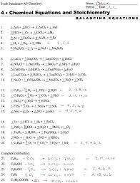 free balancing equations chemical reactions worksheet chemistry activity reaction types