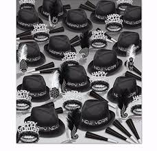 Black White New Years Eve Theme Party Kits That Include Hats