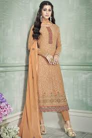 Latest Stitching Design Orange Georgette Thread Embroidery Designer Suit Unstitched Suit