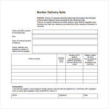 Delivery Note Template Excel