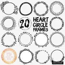 Circle Border Circle Heart Border Clipart Wedding Monogram Frame Transparent Png Heart Round Clipping Masks Printable Digital Stamp Circle Borders