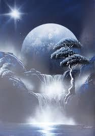 spray paint art dark blue black white nature painting made by street artist